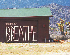 "barn with ""remember to breathe"" written on it"